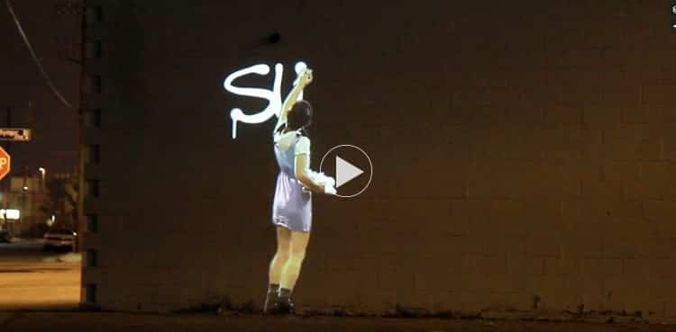 Graffiti Girl Outdoor Projection Installation - Dawn of Man